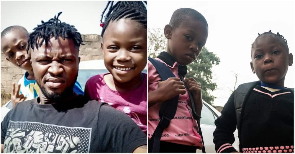 Man shares cute photos of his kids as he celebrates himself as a single father