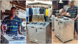 Nigerian final year student from FUTO builds gas cooker with local materials, Imo state govt visits him
