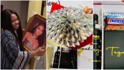 BBNaija's Tega gets emotional as Emmarose fans surprise her with money bouquet, frame and other lavish gifts