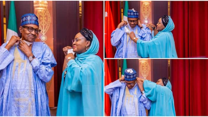 Presidential love: Rare loved-up photos of President Buhari and Aisha emerge, pictures stir reactions