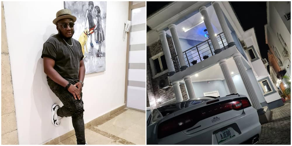Comedian Ajebo puts his newly completed mansion on display, many congratulate him