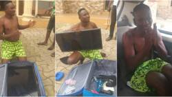 Man who tried to steal plasma TV from Benue hotel by hiding it in his travel bag caught (photos)