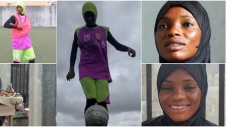 Meet skillful female Nigerian footballer who sells kola nut and bitter kola, her video warms hearts online