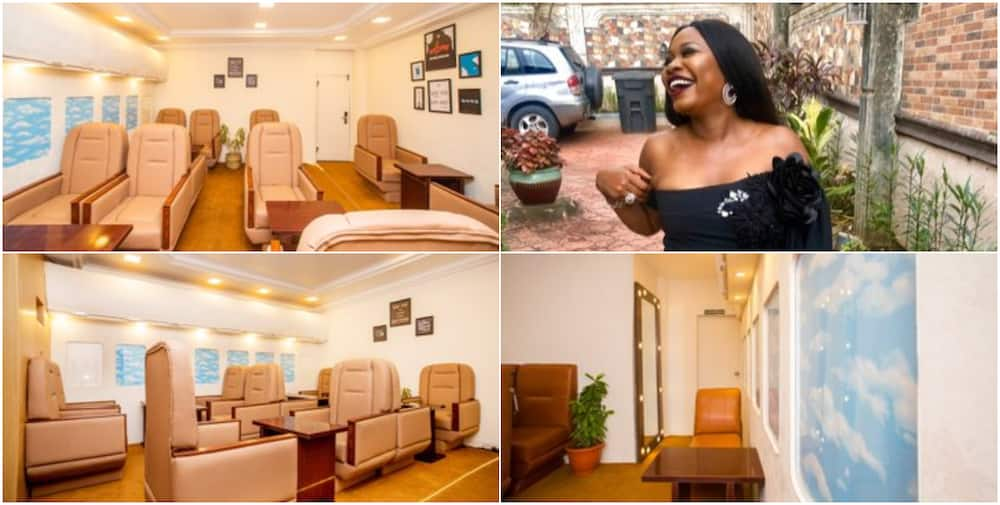 Nigerian lady wows social media with simulated airplane restaurant