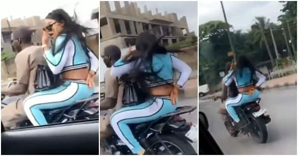 Bobrisky spotted riding on okada in Lagos as he tries to hide his face