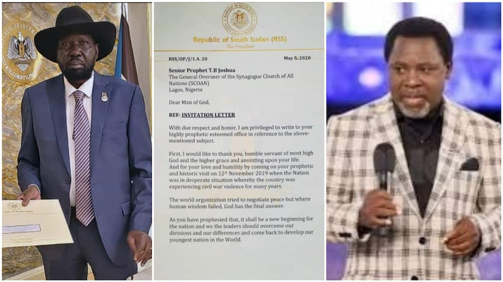 The South Sudan president said TB Joshua's prophecy gave them peace. Photos sources: Facebook/TB Joshua/Today NG