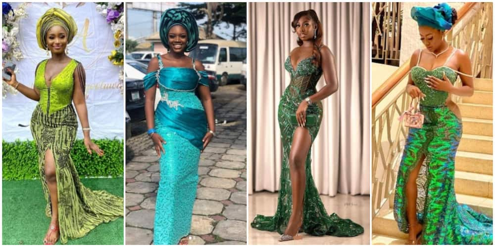 Photos of ladies in green.