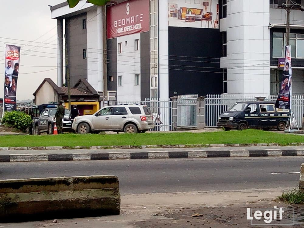 HAPPENING NOW: Heavy police presence at Lagos Coza church in anticipation of protest march against Fatoyinbo