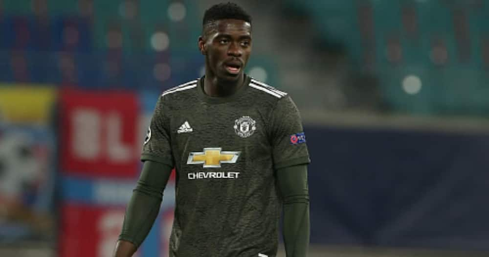Axel Tuanzebe shows his disappointment after the UEFA Champions League Group H stage match between RB Leipzig and Man United at Red Bull Arena on December 08, 2020 in Leipzig. (Photo by Matthew Peters/Manchester United via Getty Images)