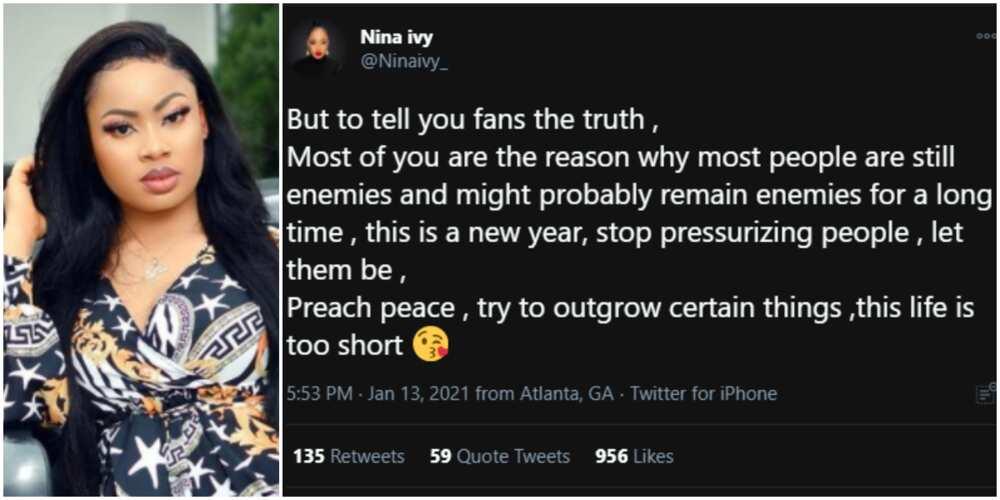 Nina blames fans for creating enmity between ex-BBNaija housemates