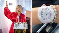 Media personality Toke Makinwa shows off expensive wristwatch she got as present on 34th birthday (photo)
