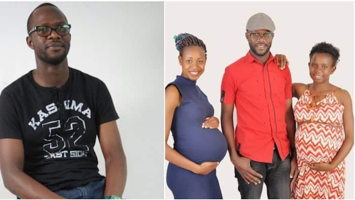 Nigerian man flaunts photo with his heavily pregnant wives