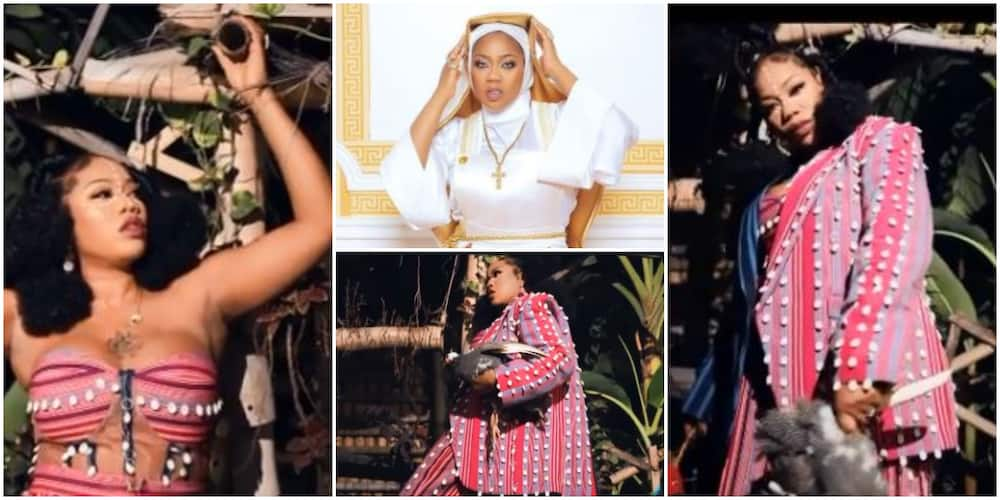 Toyin Lawani Uses Cowries in New Video As She Reacts To Criticisms for Rocking Racy Nun Outfit