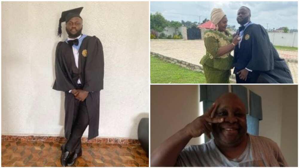 A collage showing the graduate. Photo source: Twitter/Senator Adeleke Ademola