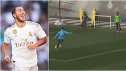 See the ridiculous rabona goal Eden Hazard scored in Real Madrid training as return inches closer (video)