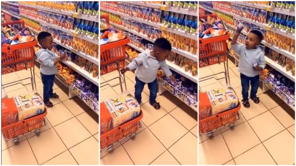 A collage showing the baby shopping. Photo source: Twitter/Oluyemi Fasipe