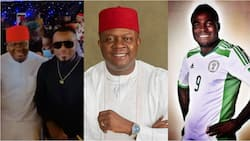 Super Eagles legend arrives Oba in style for Obi Cubana's mom's burial as he 'endorses' billionaire as Anambra next governor