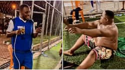 Davido, other celebs react in amusement as Cubana Chiefpriest undergoes funny massage session on field