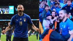 Awkward video moment steward 'harassed' Italy defender after mistaking him for pitch invader during Spain clash