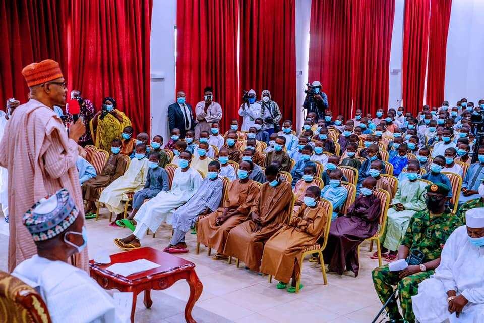 Buhari meets 344 Kankara schoolboys in Katsina