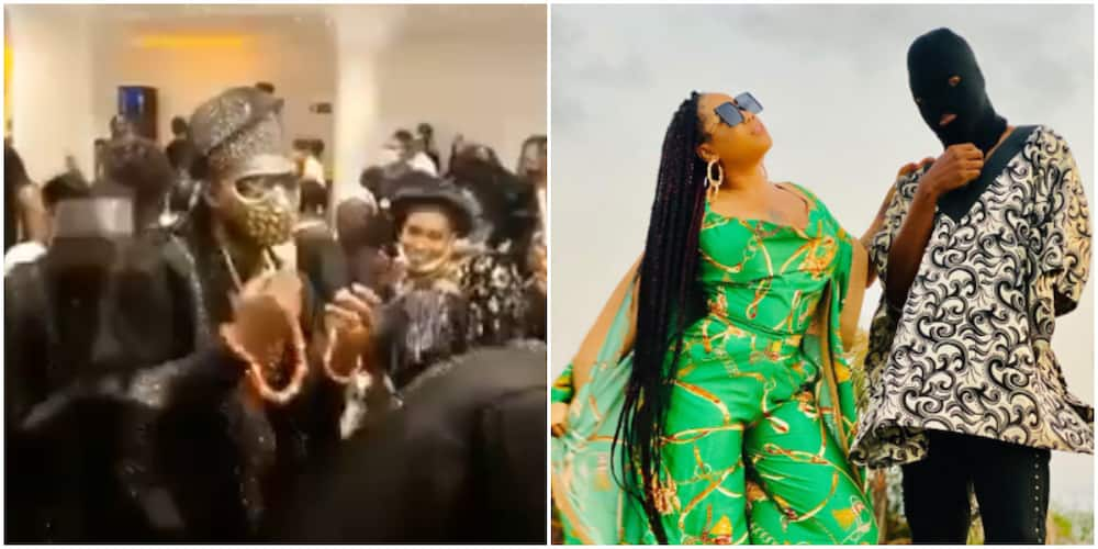 Toyin Lawani's husband dances in with his friends at their wedding