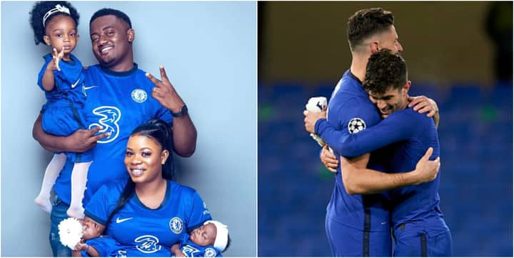 Nigerian man shows off his lovely family putting on Chelsea jersey including his newly born twin daughters