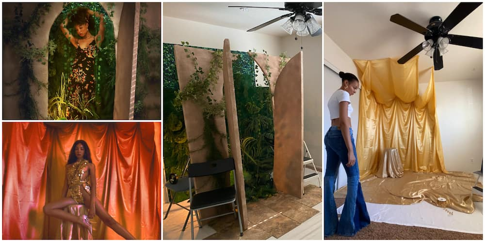 Young lady creates amazing photoshoot backgrounds right inside her room, photos wows many