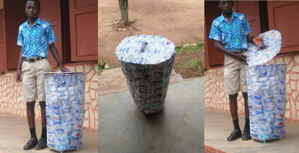 Student of St Thomas High School Impresses many as post of him with a Dustbin from Empty Sachets goes Viral