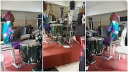 Nigerian grandma takes control of drum set, makes sweet music with it in church, many react