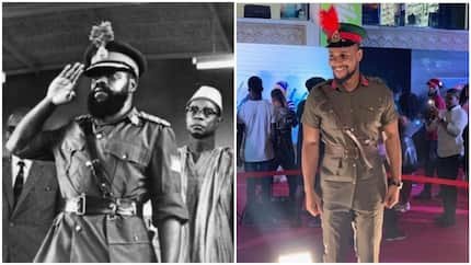 Alexx Ekubo steals show as he dresses as General Ojukwu to event in Lagos (photos)
