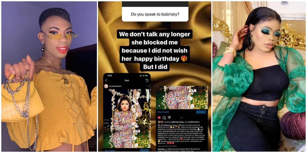We don't talk anymore, Crossdresser James Brown says of his relationship with senior colleague Bobrisky