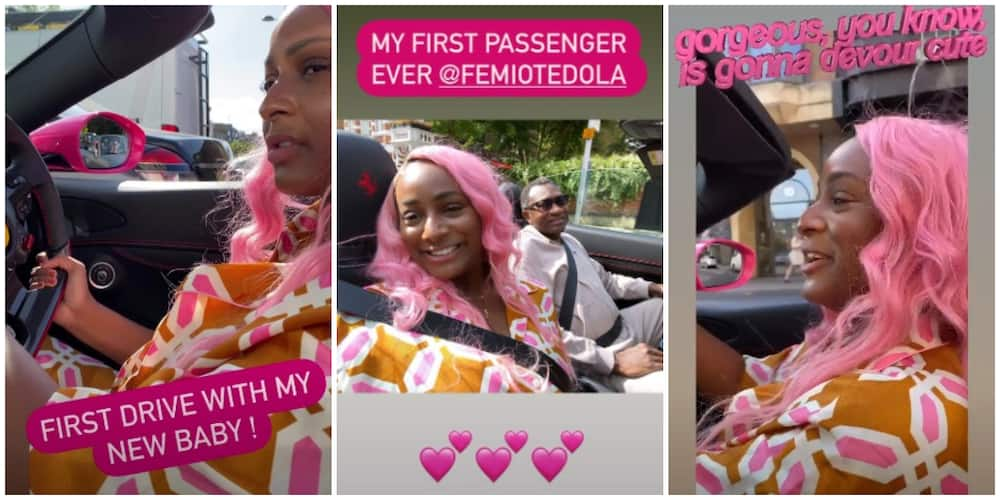 DJ Cuppy takes billionaire dad Femi Otedola on a ride in her Ferrari
