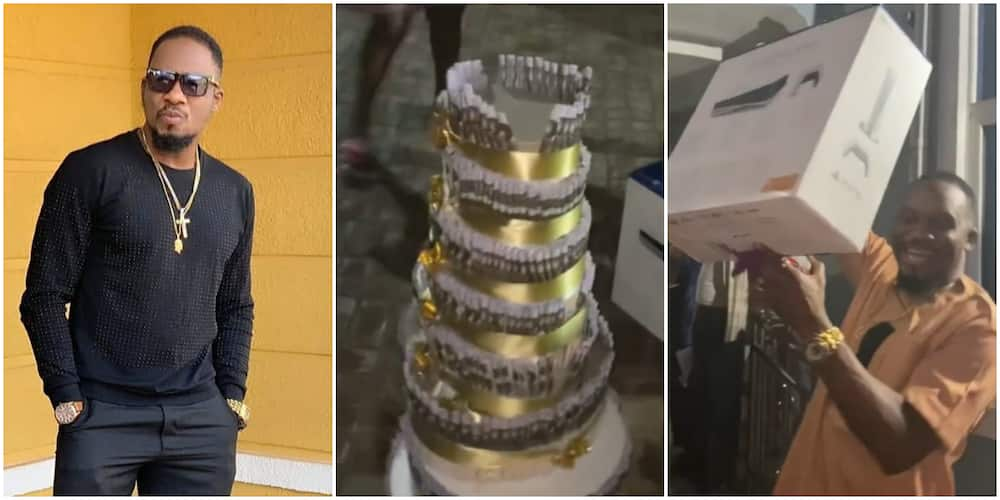 Jnr Pope's Birthday: Wife Surprises Actor on Movie Set With N1 Million Money Cake, PS5, Other Expensive Gifts