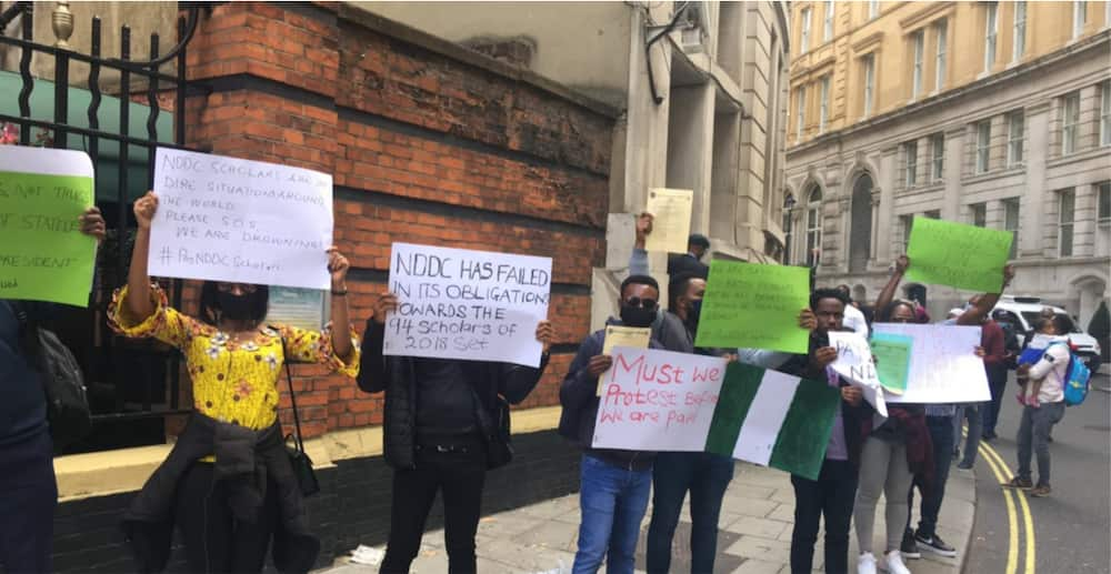NDDC: Stranded scholars hold fresh protest at Nigerian embassy in UK