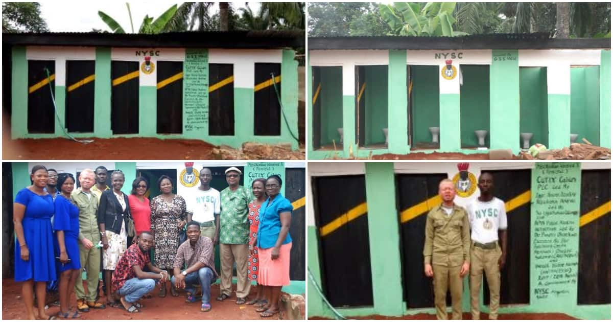 2 NYSC members build 6 toilets as community project in Anambra (photos)