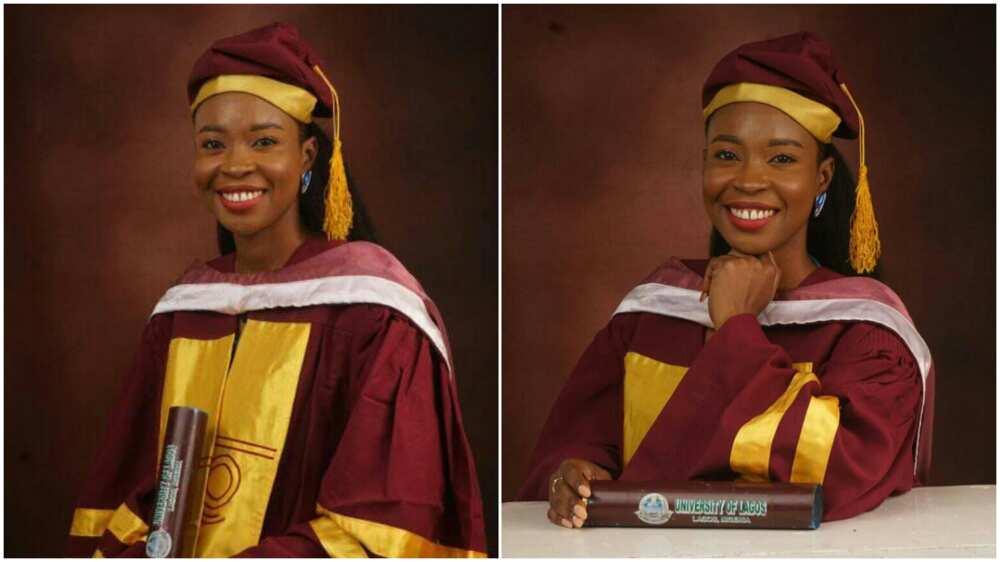 The Unilag masters graduate thanked God.