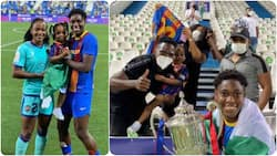 Nigerian footballer takes his beautiful family to watch Super Falcons stars tackle each other in a final match
