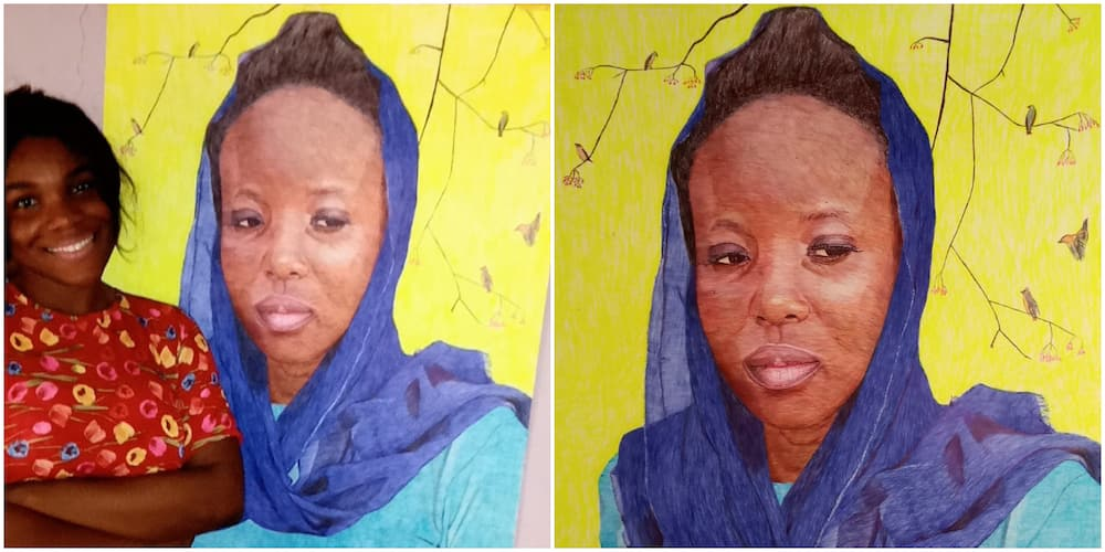 Nigerian Lady Who Taught Herself to Paint Shares Artwork She Did That Took Her 183 Days, Wows Many