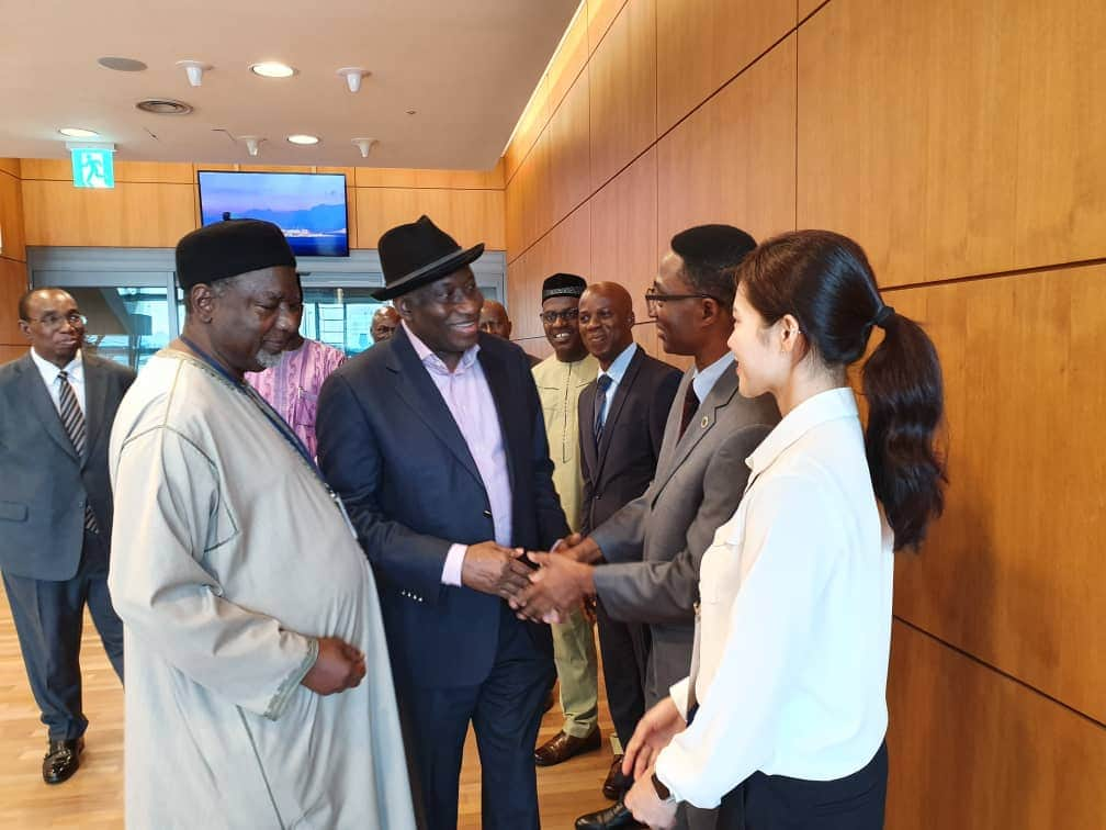 Former president Goodluck Jonathan arrives South Korea to participate in International Leadership Conference