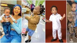 Different shades of Munir: 7 times Regina Daniels' son gave baby fashion goals
