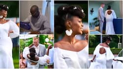 Bride's dad melts hearts after making cute wedding gown for daughter, dress fits perfectly well, many react
