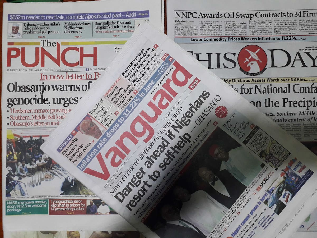Newspaper review for July 16: Danger if Nigerians resort to self-help - Obasanjo