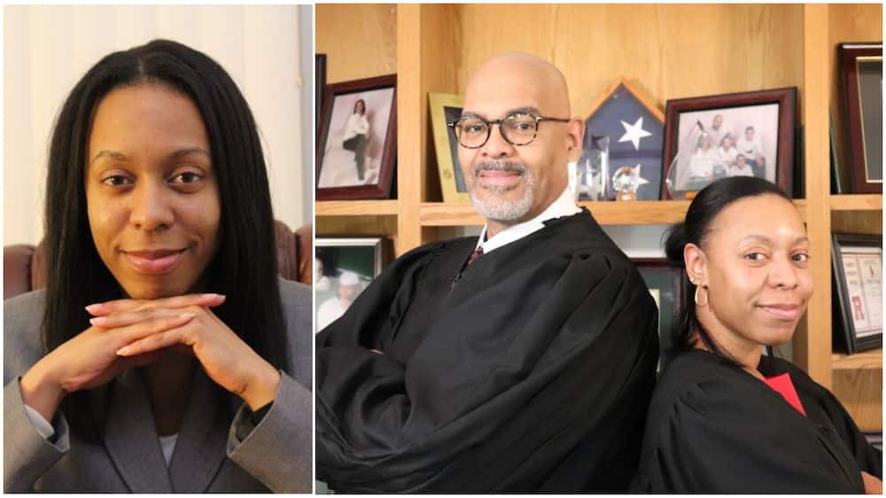 Happy moment daughter reaches dad's level, sworn in by him as a judge