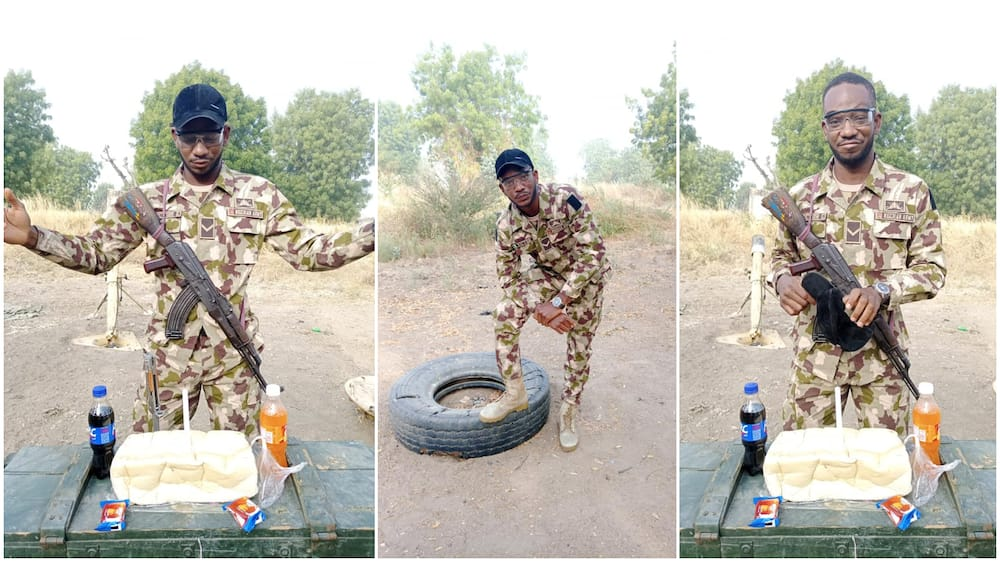 Nigerian soldier on duty marks birthday with bread, biscuits, calls for prayer (photos)