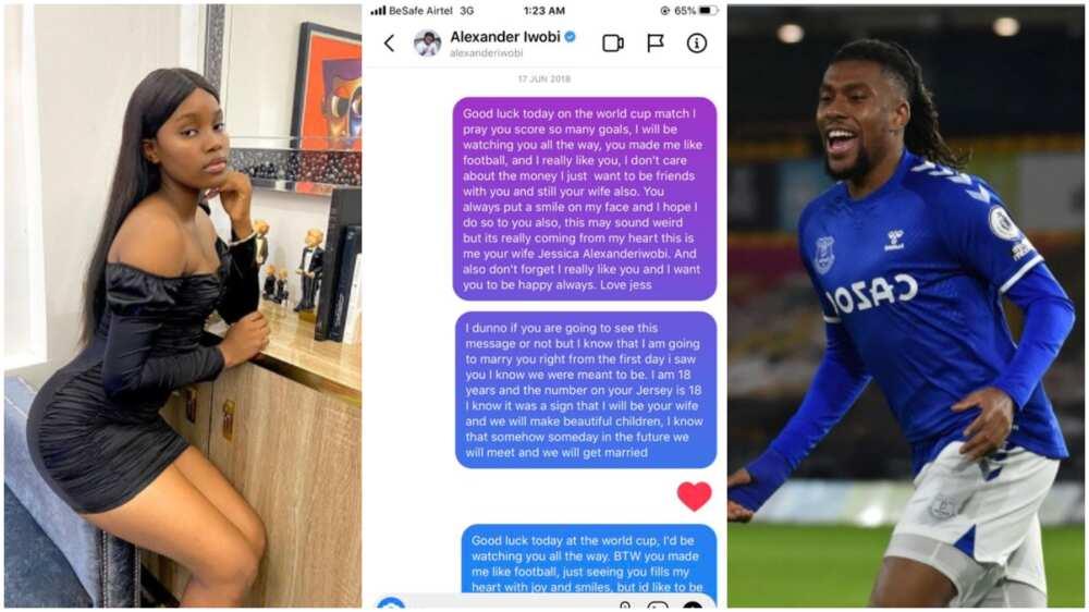 Nigerian lady shoots shots at Alex Iwobi, says she wants to have his kids, shares chat screenshots