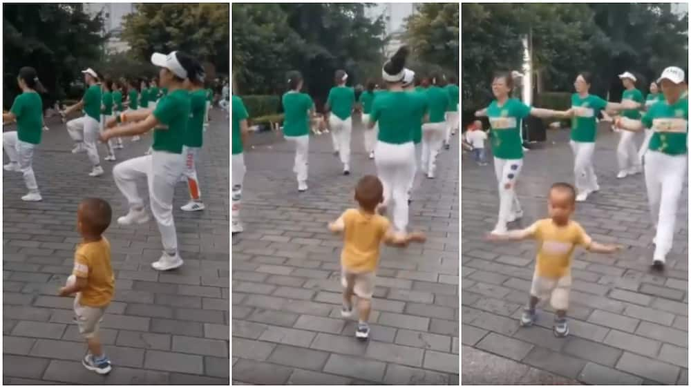 Young boy memorises dance moves, peforms well alongside adult during choreography