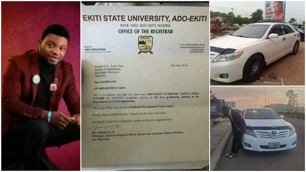 Best graduating student who got N100 as prize in 2018 finally succeeds, buys himself new car
