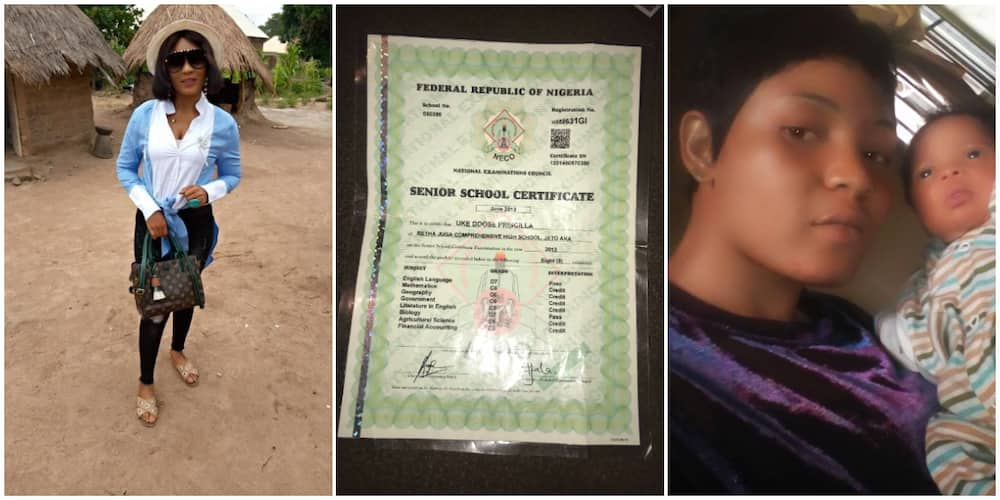 Young single mum seeks help from Nigerians to return to school, shares photos of her kid and WAEC result