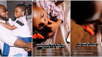Davido's first daughter Imade speaks French fluently with her aunt in new video, fans react