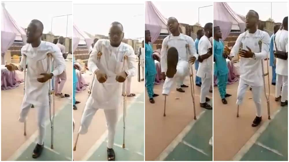 One-leg man dances to Naira Marley's song, shows amazing dance moves